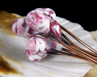 Torched  Enameled Copper Wire Headpins-Pink Passion -Bohemian Beads-Boho