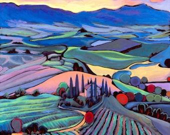 Art Print, Wall Art, Home Decor, Giclee Print, Daniel Ng: Sunset Tuscany Giclee Print Signed, Limited Edition