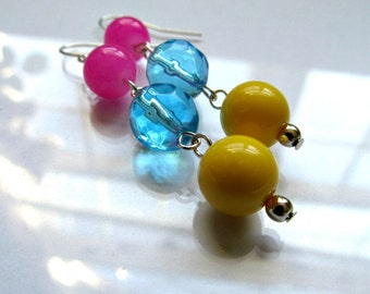 Colorful Bright Sterling Silver Statement Earrings - Hot Pink, Aqua Blue, Yellow Colorblock Earrings