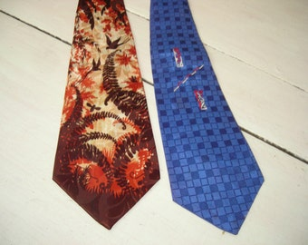 "40's two neckties, cravats, two ties, brown and orange ""Bird Brilliance"", blue with embroidery, great vintage ties"