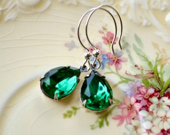 Emerald Drop Earrings, Vintage Glass Teardrop Earrings, Green Wedding Earrings, Glamorous Jewelry, Sterling Silver Dangle Earrings Wife Gift