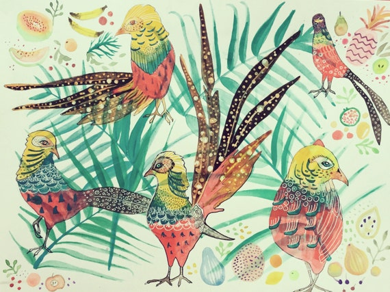 Print Art Painting Watercolor Birds Pheasant Giclee Print Collage Giclee Canvas Paper Textile Collage
