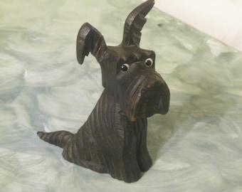 SALE!! Rare Carved Scottie Dog , 1930's Wooden Dog , Handmade Antique Dog Carving , Dog Collector , Dog Lover