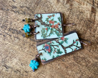Rustic Tin Jewelry Boho 'Joy of Spring' earrings n147- tin Jewelry , retro , up cycled metal , flowers motif ,  romantic , nature flowers