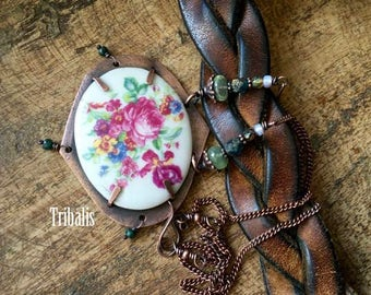 Rustic 'Rose Garden' necklace - vintage porcelain floral focal . rustic jewelry . assemblage . handmade necklace . artisan jewelry . tribal