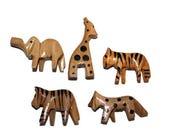Wooden Safari Animal Beads - 5 beads (072)