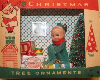 Elf, Vintage knee-hugger Elf shadow box, diorama