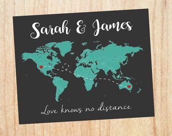 Long Distance Relationship Christmas Gift World Map Printable Love Map Art Print Boyfriend Gift Different Countries