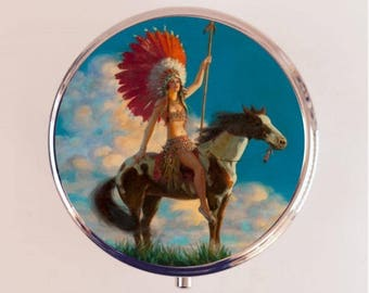 Art Deco Native American Pill Box Case Pillbox Holder Trinket Stash Box Woman Horse Indian Roaring 20s Jazz Age
