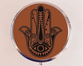 Hamsa Pill Box Case Pillbox Holder Stash Trinket Box Protection Symbol Mystical New Age Spiritual