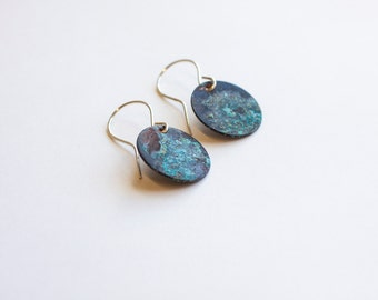 Patina Earrings (Circles) - Natural Patina Earrings - Copper Patina - Copper Natural Patina Earrings - Patina Circle Earrings - Unique Discs