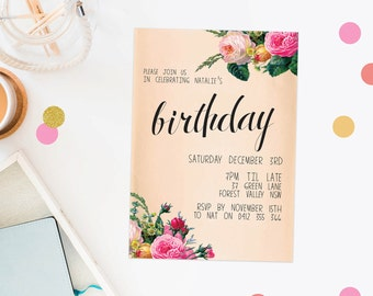 Birthday Invitation Floral Peach Birthday Invite Modern Vintage  Invitations Roses Pink Flowers Female Birthday Calligraphy Hand Lettering