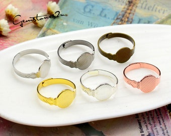 20pcs of Brass Ring Base With 10mm Glue Pad Setting, Brass Adjustable Ring Base Flat Pad Setting -- 6 Colors available