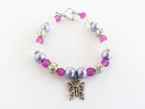 Clearance Sale, Butterfly Bracelet, Butterfly Jewelry, Butterfly Jewellery, Butterfly Gifts, Purple Butterfly Charm, Charm Bracelet