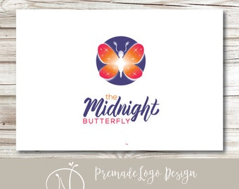 Premade Butterfly Logo - Ethereal Spiritual Celestial Logo Design - Customizable Color and Business Name - Butterfly Brand Branding Design