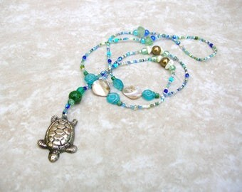 Sea Turtle Necklace - Long Bohemian Necklace - Blue and Green Colored Beads - Boho Jewelry
