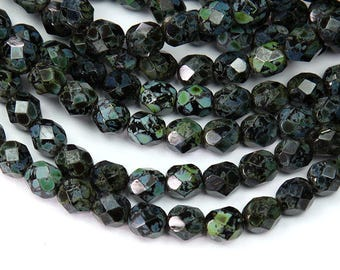 Jet Picasso Czech Glass Beads, 6mm Faceted Round - 50 pcs - eT2398-6