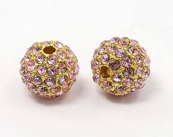 Light Pink Rhinestone Ball Beads, Gold Tone, 12mm Round - 5 Beads - eRB34-27G-12