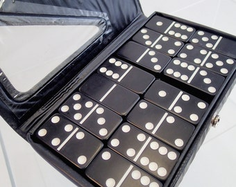Double Six Vintage Black and White Dominoes Domino Set In Package Vinyl