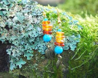 Amber Turquoise Drops Earrings, Native American Earrings, Hippie Boho Indian Turquoise Earrings, Blue Yellow Earrings, Amber Earrings