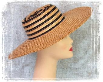 Vintage Straw Hat, Vintage 1950s, Wide Brim, Flat Crown, Circular Straw, Derby Hat, Woven Straw, Black Stripe Hat