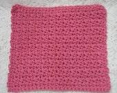 Crocheted Dishcloth Large Cotton Dish Cloth Rose Pink Dish Rag Textured Washcloth