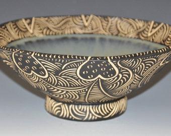 Sgraffito serving bowl, fruit bowl, black & white sgraffito, w smokey green glaze, Holidays gift, wedding gift, ready to ship gift