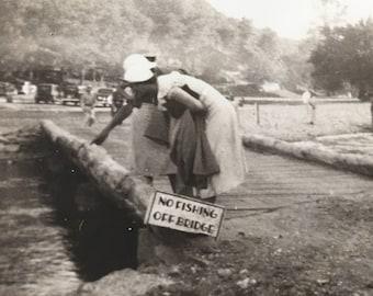 No Fishing Off Bridge Vintage Photo Flappers