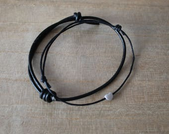 NEW Silver heart bracelet layering set of 2 - layering, minimalist, modern, jewellery, thick black leather cord, think black wax cord