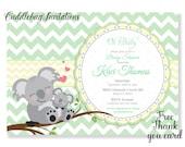 Green Chevron and Yellow Koala Bear Baby Shower Invitation   Baby Koala Shower Invitation   Jungle Baby Shower Invite Printable