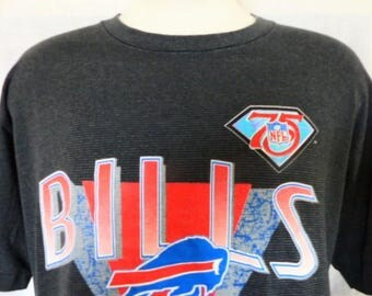 vintage 90's 1994 Buffalo Bills NFL Football black heather grey horizontal pin stripe graphic t-shirt XL crew neck red white blue logo print