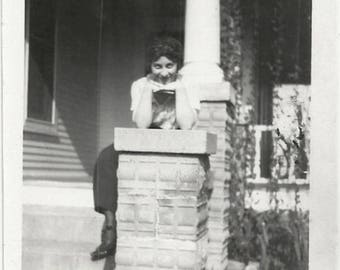Old Photo Woman Posing on Porch Stoop 1920s Photograph Snapshot vintage