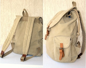 Classic CANVAS Backpack, Big Rucksack Leather Knapsack White Textile Vintage