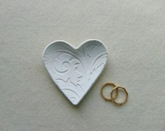 12 Wedding Favors, 12 Wedding Heart Dish Favors, Clay Wedding Favors, Ring Bearer Dish