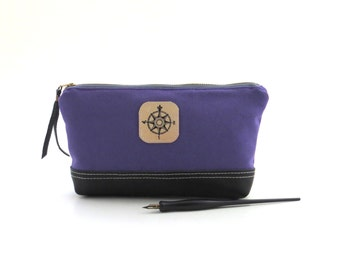 Purple pencil bag, purple zipper bag, canvas pencil case, purple zipper pouch, canvas leather pouch, purple pouch, pencil case, travel pouch