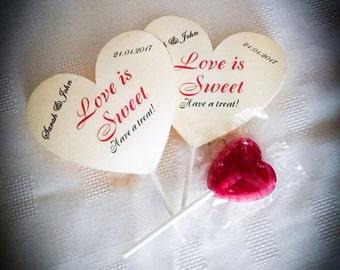 Wedding Lollipop Favours, Wedding Guest Favors, Lollipop favors, Wedding Thank You gifts, Engagment Party Favors, Love is sweet, Set of 50pc