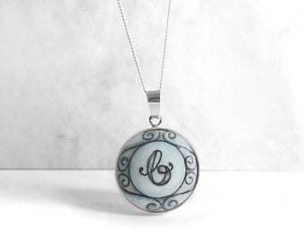Hand Painted Initial Necklace, Lower Case Letter Charm Necklace, Sterling Silver Wood Bezel Necklace, Pendant Chain, Personalized Jewelry