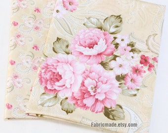Peony Cotton Fabric Pink Peony Beige Cream Background Shabby Chic Fabric A B Flower Cotton- 1/2 yard