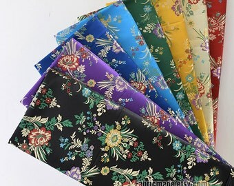 "FLORAL Brocade Fabric, Gold Blue Green Red Purple Flower Fabric For Kimono Dress - 1/2 yard 18""X29"""