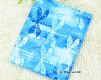 Blue Dragonfly Cotton Fabric, Dragonfly On Faded Blue Cotton - 1/2 yard