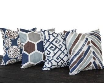 Set of Four Throw Pillow CushionCovers, Decorative Pillow, navy blue brown tan gray white, Regal Blue Slub Canvas