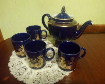 Cobalt Blue Hall 083 Tea Pot With 4 Cobalt Blue Cups, Los Angeles, Art Deco, Gold Filigree  (DD)