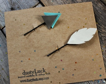 Leather Arrow and Feather Bobby Pin Set // Bohemian Leather Teal Blue and Grey  // Ready to Ship