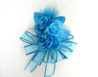 Floral corsage, Corsage for women, Wedding/Bridal shower corsage, Prom corsage, Turquoise corsage, Anniversary corsage, Wrist corsage