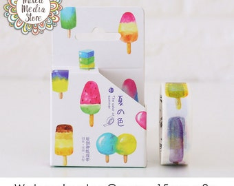 Watercolour Ice Cream Washi Tape - So pretty for your planner & art journal pages!