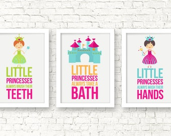 Little princesses bathroom rules, Kids Decor, Baby Girl Art, Kids Art, Bathroom decor, Bathroom rules, Princess Nursery Wall Art, A-3012