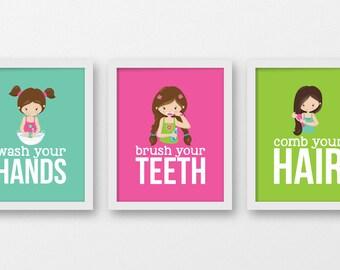 Girls bathroom rules, brush your teeth, wash your  hands, brush your hair, hygiene prints, bathroom decor, kids bathroom posters, BE-3101