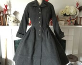 Reserved for Heather 50s Grey Wool Princess Coat 1 of 2 layaway payments