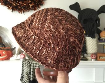 Copper Sequined 40s Felt Cloche Hat