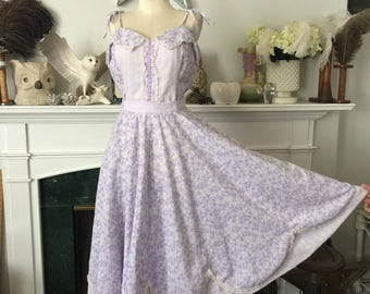 70s Lavender Shamrock cotton Sundress